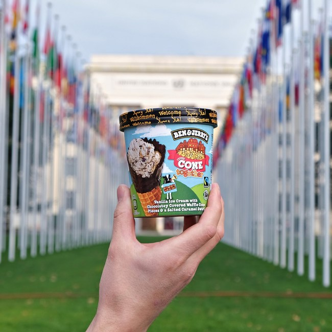 "Ben & Jerry's launch ""Cone Together"", a new flavour created to call for the rights of refugees to be advanced and protected at the UN Global Refugee Forum."