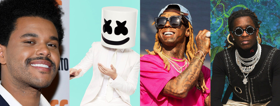 From left to right, The Weeknd, Marshmello, Lil Wayne, and Young Thug are among top artists tapped by TRILLER to become investors and strategic partners. (PRNewsfoto/TRILLER)