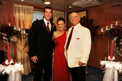 Ryan and Trista Sutter with Gavin MacLeod during Ruby Princess Naming Ceremony, November 2008.