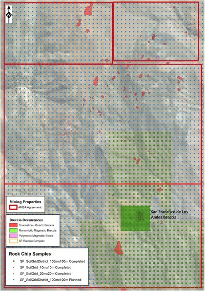 Figure 1: Current progress in soil sampling at the San Francisco Project area. Approximately 30% of the project area has already been covered (green points). (CNW Group/Turmalina Metals Corp.)