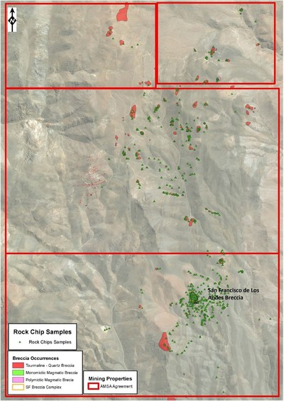 Figure 2: Current progress of rock chip sampling at the San Francisco Project with main breccia locations. Over 300 samples have been collected to date, with all outcropping breccias to be mapped, sampled and prioritised by February 2020. (CNW Group/Turmalina Metals Corp.)