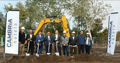 From left to right: Kevin Burkett, SMC Construction; Meghaj; Dev Keshav; Dr. KN Reddy; Shaun Winters, Cambria Hotels; Miles Beach (MILES architecture group); Dheeraj; Nevean Reddy; Miss Ankita.