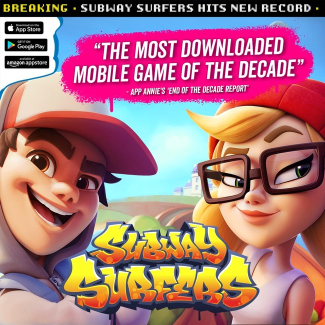 Boasting over 2.7 billion downloads around the world, Subway Surfers was named the most downloaded mobile game of the decade by App Annie.