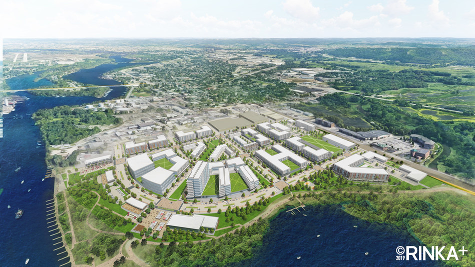 Aerial view of River Point District waterfront development on Mississippi River in La Crosse, WI. Rendering by RINKA.