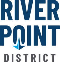 River Point District logo - a new waterfront development on the Mississippi River in La Crosse, WI. Logo designed by Vendi Advertising.