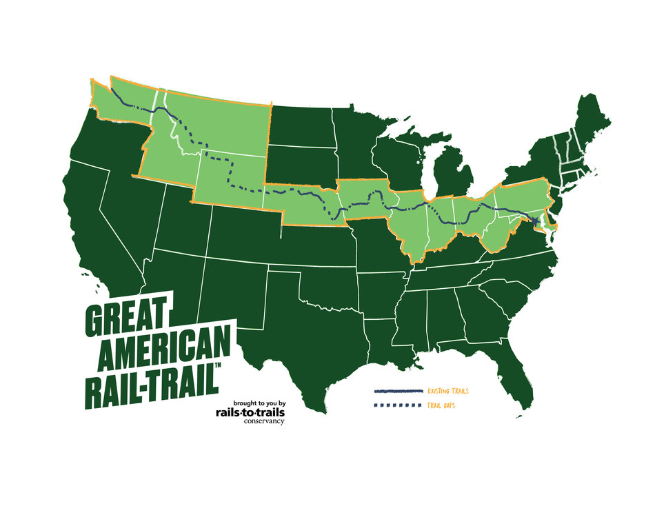 """The Great American Rail-Trail (greatamericanrailtrail.org) is the nation's first cross-country multiuse trail, spanning 3,700 miles over 12 states between Washington, D.C., and Washington state. The """"Great American"""" is a signature project of Rails-to-Trails Conservancy, the nation's largest trails organization—with a grassroots community more than 1 million strong—dedicated to connecting people and communities through a nationwide network of public trails."""