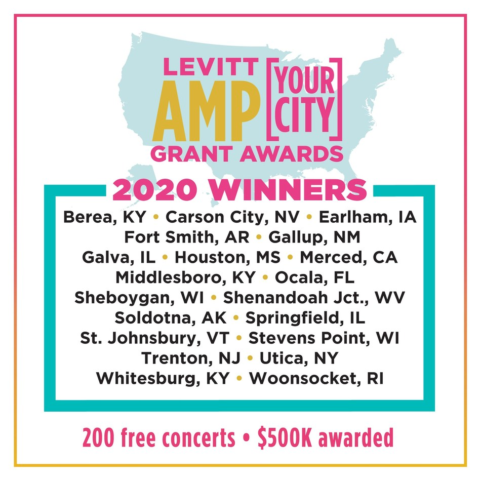 Announcing the 2020 winners of the Levitt AMP Your City Grant Awards! $500K awarded nationwide to strengthen the social fabric of communities through free outdoor concerts, from rural towns to mid-sized cities. Learn more at levittamp.org