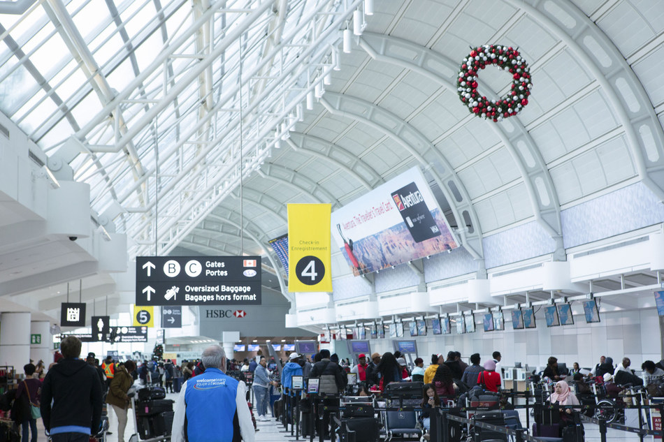 138,000 passengers will travel through Pearson on December 20, 2019. (CNW Group/Greater Toronto Airports Authority)