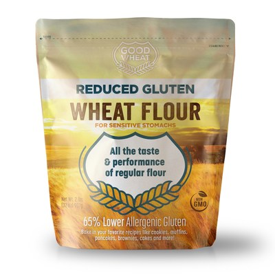 Milled from a unique variety of non-GMO wheat, GoodWheat™ Reduced Gluten Wheat Flour naturally has better nutritional value with 10 grams of fiber and 65 percent less of the gluten that causes allergic discomfort.