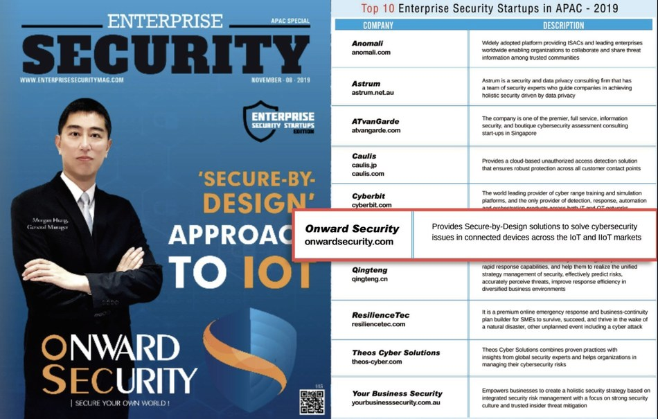 """As one of the Top 10 Enterprise Security Startups in APAC selected by Enterprise Security Magazine, Onward earns the honor of the cover story for its """"Secure-by-Design"""" approaches to IoT and IIoT solutions in the APAC special edition."""
