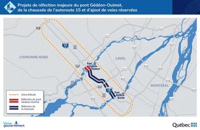 Projets de réfection majeure du pont Gédéon-Ouimet, de la chaussée de l'autoroute 15 et d'ajout de voies réservées (Groupe CNW/Ministère des Transports)