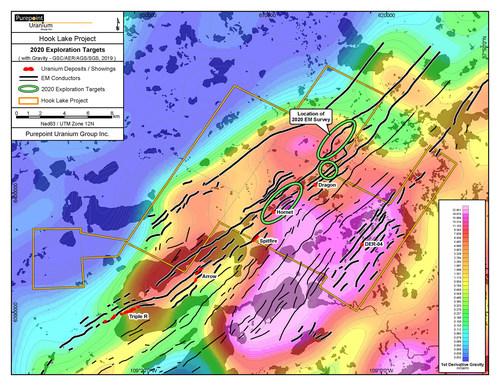 Hook Lake Project - 2020 Exploration Targets (CNW Group/Purepoint Uranium Group Inc.)
