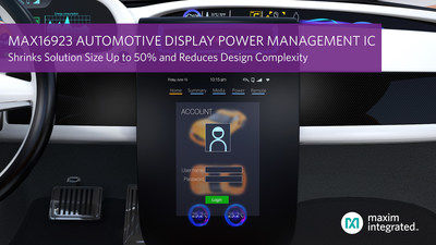 Highly integrated MAX16923 PMIC enables OEMs to increase the number of electronic screens per vehicle.