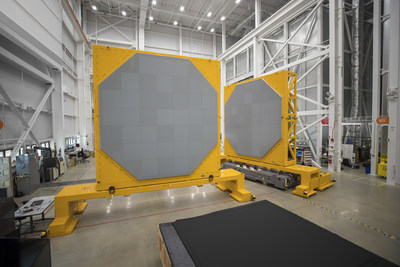 Two SPY-6(V)1 radar arrays inside Raytheon's Andover, Massachusetts radar development facility.