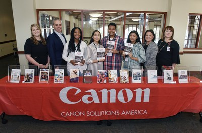 Representatives from Canon Solutions America, the city of Boca Raton, Florida, and The School District of Palm Beach County celebrate with members of the Future Authors Project.