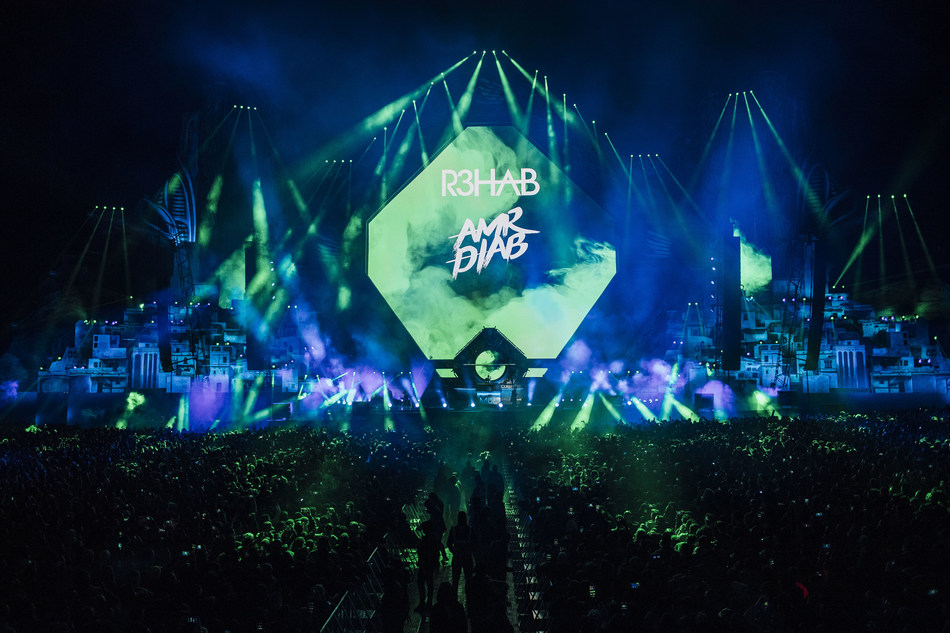 R3hab and Amr Diab during MDL Beast, a three day festival in Riyadh, Saudi Arabia, bringing together the best in music, performing arts and culture.