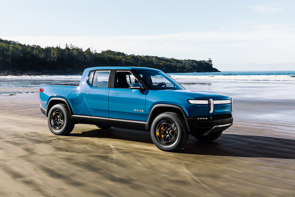 The Rivian R1T in Tofino, BC. Photo by Jeff Johnson.