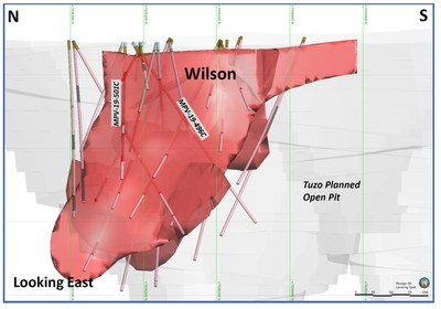 Cross-sectional image of Wilson kimberlite (red), with drillholes 496C and 501C as noted. (CNW Group/Mountain Province Diamonds Inc.)