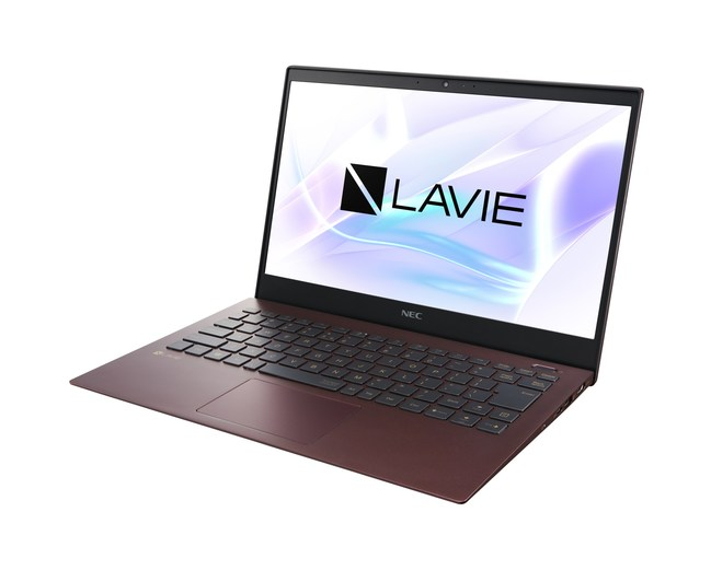 The new 13.3-inch display LAVIE Pro Mobile in the color Bordeaux, offering exceptional portability.