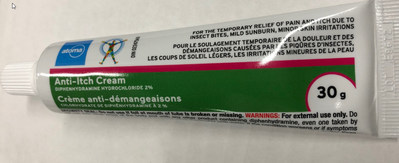 Front of tube, Atoma-brand Diphenhydramine Hydrochloride 2% Anti-Itch Cream, 30g (CNW Group/Health Canada)