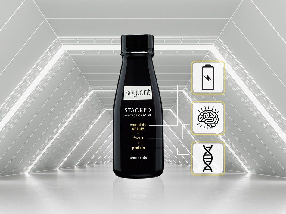 Soylent Stacked - the first complete energy drink to fuel the mind and body.
