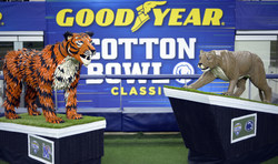 Standing over five feet tall and weighing more than 200 pounds each, Goodyear's tire art features Penn State University's mascot, the Nittany Lion, and the University of Memphis' mascot, Tom the Tiger. Collectively, the tire-based artwork was constructed from more than 260 Goodyear-branded tires, leverages approximately 450 hidden screws and took 400 hours to complete. The 2019 Goodyear Cotton Bowl Classic game kicks off on ESPN on Dec. 28, at 11 a.m. CST. (Matt Strasen/AP Images for Goodyear)