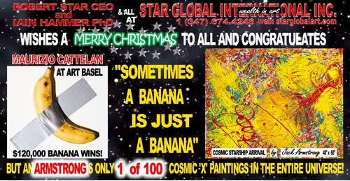 Opening shot of a video on a huge screen in Times Square showing Maurizio Cattelan's famous Banana with Duct-tape on a white wall, which recently sold for $120,000, and a seminal painting of Cosmic Artist Jack Armstrong, which is valued at $15 million. 'Sometimes a banana is just a banana.'