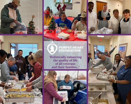 Purple Heart Foundation employees volunteer to spread holiday cheer to homeless veterans at the Department of Veteran Affairs Community Resource and Referral Center in Washington, D.C.