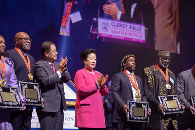 Newark, NJ (December 28, 2019) - Faith leaders from around the world are awarded for their work to bridge religious division at the inauguration of the World Clergy Leadership Conference during the Peace Starts with Me Rally. (Photo credit: Graeme Carmichael/Family Federation for World Peace and Unification)