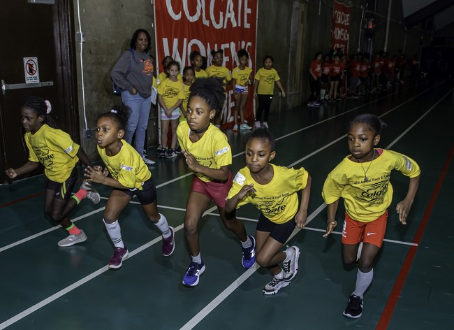 Elementary A division competitors (1st - 3rd grades), at the third preliminary meet of the nation's largest track series for girls, the 46th annual Colgate Women's Games this weekend. Four preliminary meets and a semi-finals at Pratt Institute determine finalists who will compete at The Armory Track in NYC, on February 1, 2020, for trophies and educational grants-in-aid from Colgate-Palmolive Company.