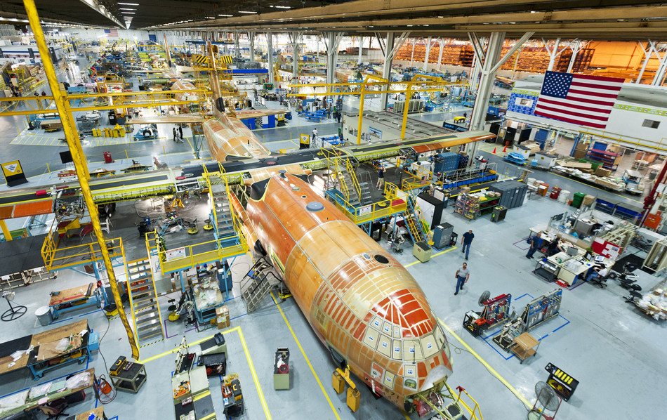 Lockheed Martin's C-130 Super Hercules production line in Marietta, Georgia. The U.S. government ordered 50 more C-130Js on Dec. 30. The multiyear contract, worth $3.4 billion, provides 24 HC/MC-130Js to the U.S. Air Force, 20 KC-130Js for the U.S. Marine Corps and and options for six HC-130Js for the U.S. Coast Guard. (PRNewsfoto/Lockheed Martin Aeronautics Com)