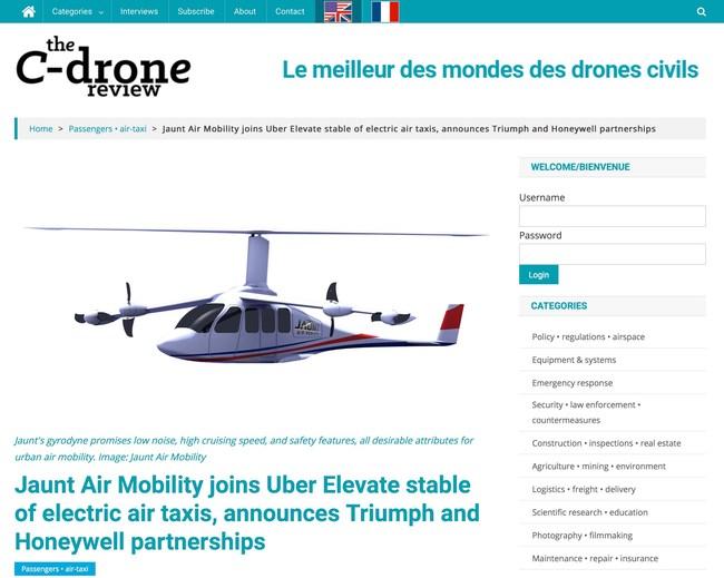 Le C-Drone Review® couvre l'industrie des drones civils et des taxis aériens.