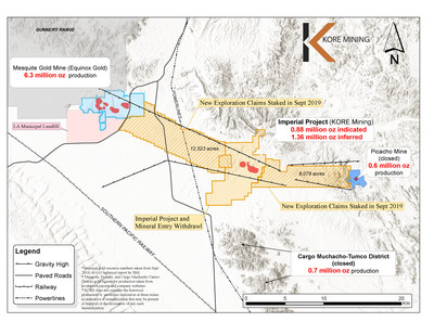 Figure 1 - Imperial Claims Controlling the Mesquite-Picacho Gold Camp (CNW Group/Kore Mining)