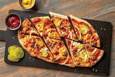 UNO Menu Item (available 1/14): Vegetarian Cheeseburger Pizza – featuring plant-based Beyond Burger, cheddar, mozzarella, ketchup, mustard, pickles and onions. 590 calories.