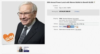 GLIDE's 20th annual eBay for Charity Power Lunch with Warren Buffett sold for a record-breaking $4,567,888 on May 31, 2019, coinciding with the 20th anniversary of the legendary auction.