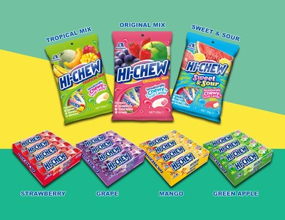 The initial Hi-Chew lineup for Australia includes three peg bags (Original Mix, Tropical Mix, and Sweet & Sour) plus Hi-Chew sticks in four best-selling flavours (Strawberry, Grape, Mango, and Green Apple).