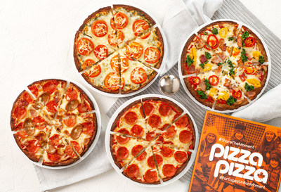 Pizza Pizza's new Keto Uncrust Pizzas from Left to Right: Keto Protein Lovers, Keto Pesto Margherita, Keto Pepperoni & Create Your Own Keto Pizza. (CNW Group/Pizza Pizza Limited)