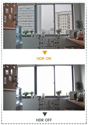 Comparison of HDR turned on and off