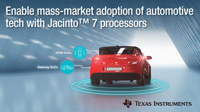 New low-power, high-performance TI Jacinto™ 7 processors enable mass-market adoption of automotive ADAS and gateway technology.