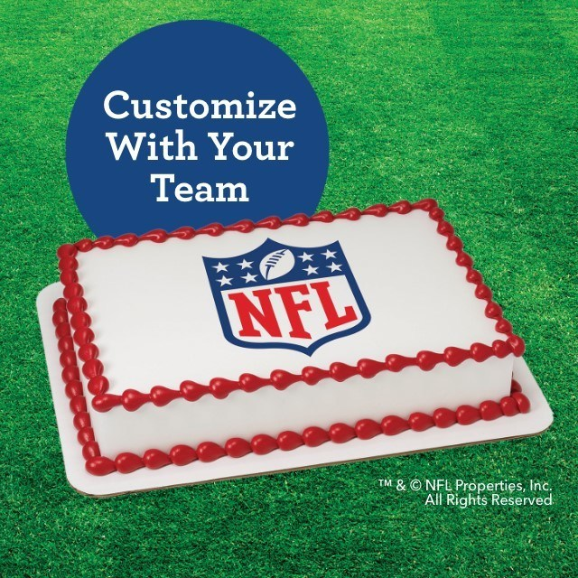 Score big at your playoff party with Baskin-Robbins' ice cream cakes that can be customized with any of the 32 NFL® team logos.
