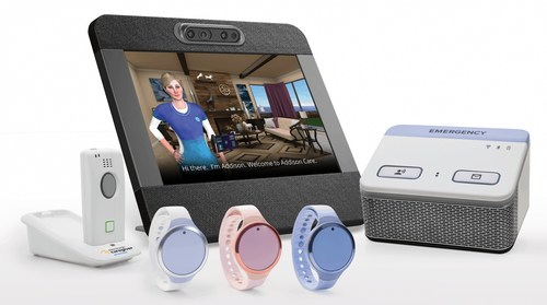 Addison the Virtual Caregiver™ appears on a touch-screen device, alongside Electronic Caregiver's other health and safety monitoring devices, including the Premier and Pro Health.