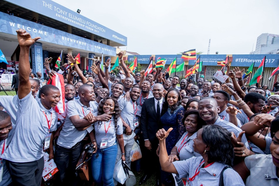 Tony O. Elumelu, CON, Founder, Tony Elumelu Foundation and Dr. Awele Elumelu, Trustee, Tony Elumelu Foundation surrounded by African Entrepreneurs at the Tony Elumelu Foundation Entrepreneurship Forum.
