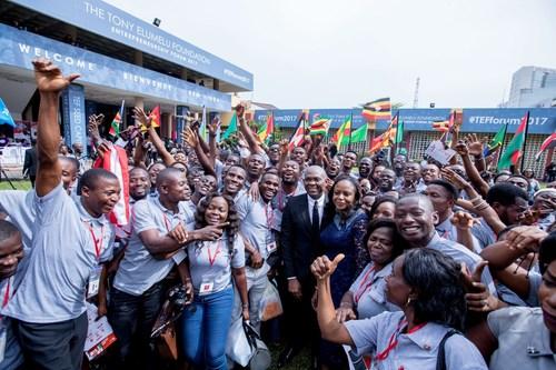 Tony O. Elumelu, CON, Founder, Tony Elumelu Foundation and Dr. Awele Elumelu, Trustee, Tony Elumelu Foundation surrounded by African Entrepreneurs at the Tony Elumelu Foundation Entrepreneurship Forum.
