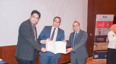Left to right: Dr. Tamer El Khatib -Resala Charity Organization Board member and Head of the Patents Department at Zewail University, Mostafa Gomaa - CMA Instructor at Resala and Ahmad Mkhallati - IMA Director of Regional Partner Relationships