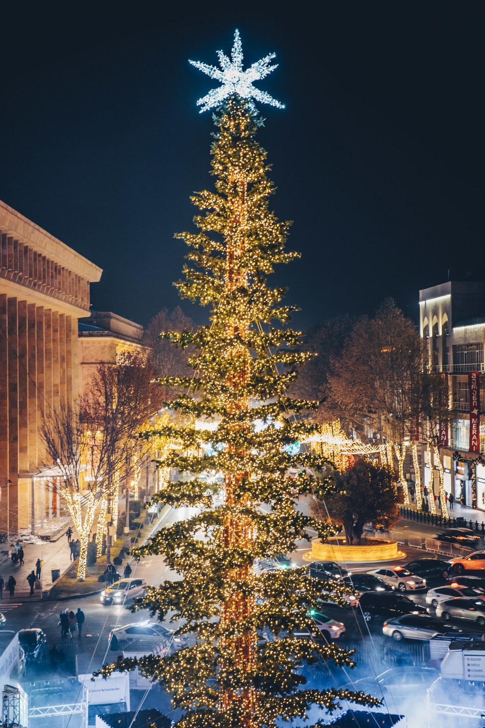 Tbilisi's Main Christmas Tree (Photographs by Davit Tabagari)
