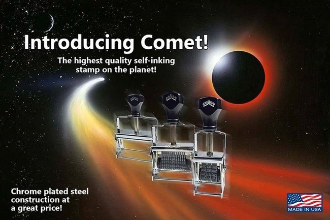 Comet self-inking stamps have been manufactured in the USA for over a century. Constructed of chrome-plated steel and natural rubber, these durable stamps are available in a wide variety of character sizes and band spaces. Numeric, alpha and alpha numeric stamps are available in all configurations in a simple to use ordering format at RubberStampChamp.com.