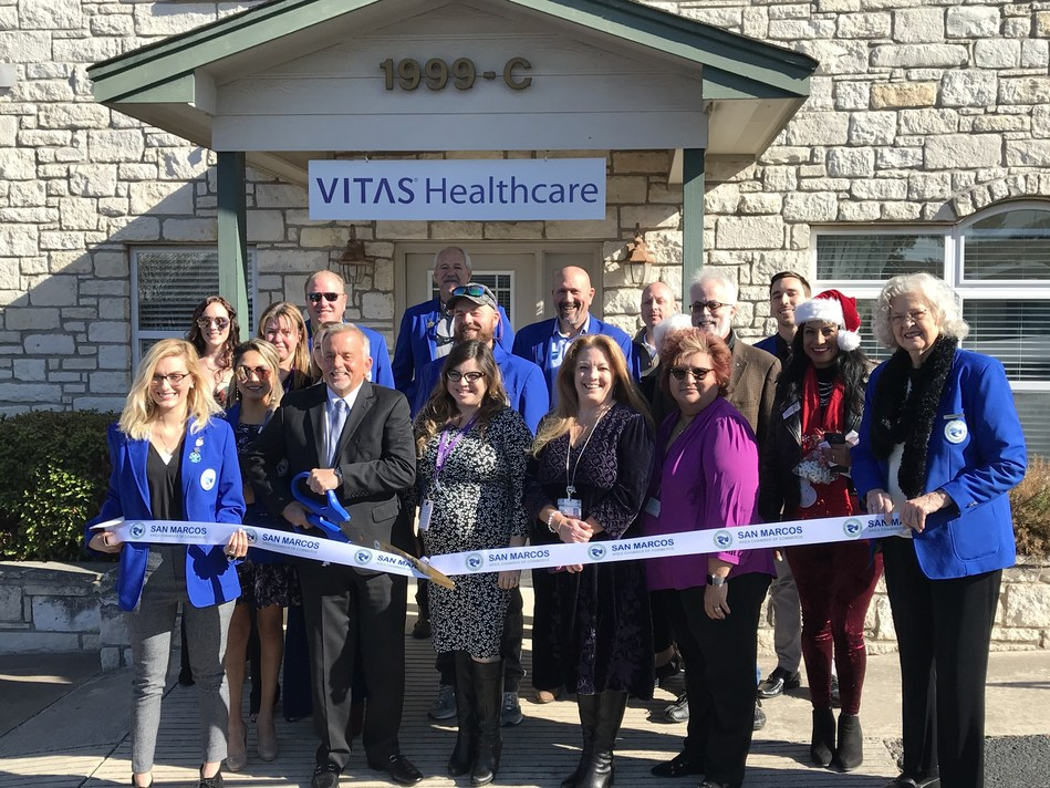 VITAS Healthcare celebrated the opening of its new office in San Marcos with a ribbon-cutting ceremony held on Thursday, December 19, 2019. The opening marks the company's second office in the greater San Antonio region.
