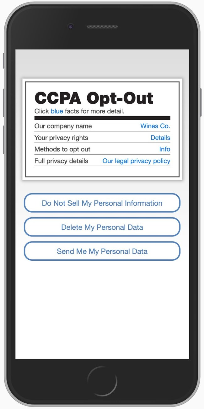 PrivacyUX for CCPA turns CCPA's required notices and opt outs into a positive consumer experience, turning CCPA compliance into a market advantage.