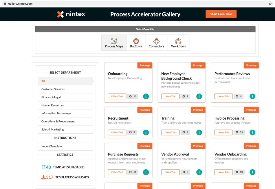 Practical and easy-to-use process templates accelerate the automation of departmental processes by leveraging process management and mapping, robotic process automation and workflow automation capabilities from Nintex. Visit www.nintex.com for more.