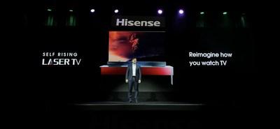Hisense presentó televisor láser autoelevante en la CES 2020 (PRNewsfoto/Hisense)